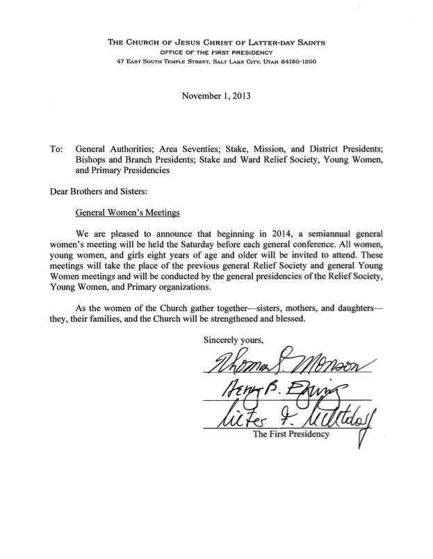 General Women's Meeting Letter